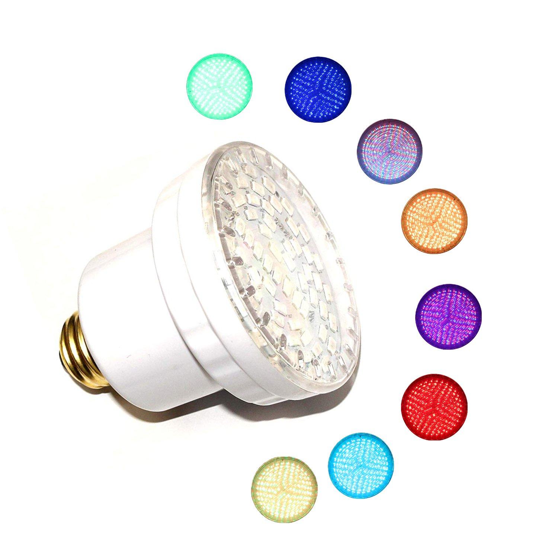 LAMPAOUS LED Pool Lights Bulb, RGB Muliti Color LED Spa Lights, E26 Base Par 56 Replacement Bulb 120VAC 15 Watt