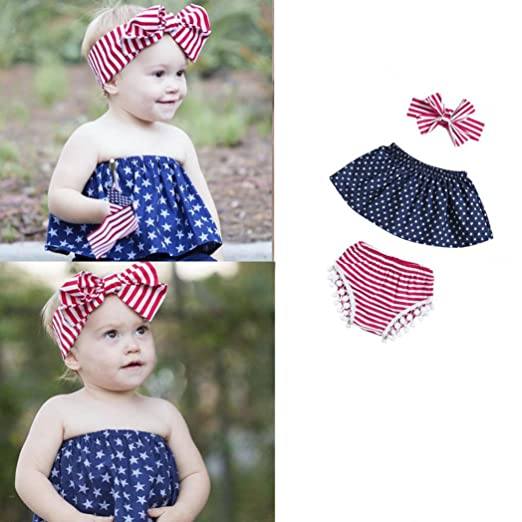 80ab1b929 Amazon.com: TOOPOOT Baby Kid Mother's Day Romper Jumpsuit - Infant Baby  Girls July Star Off Shoulder Tops Shorts Headband Outfits Set: Clothing