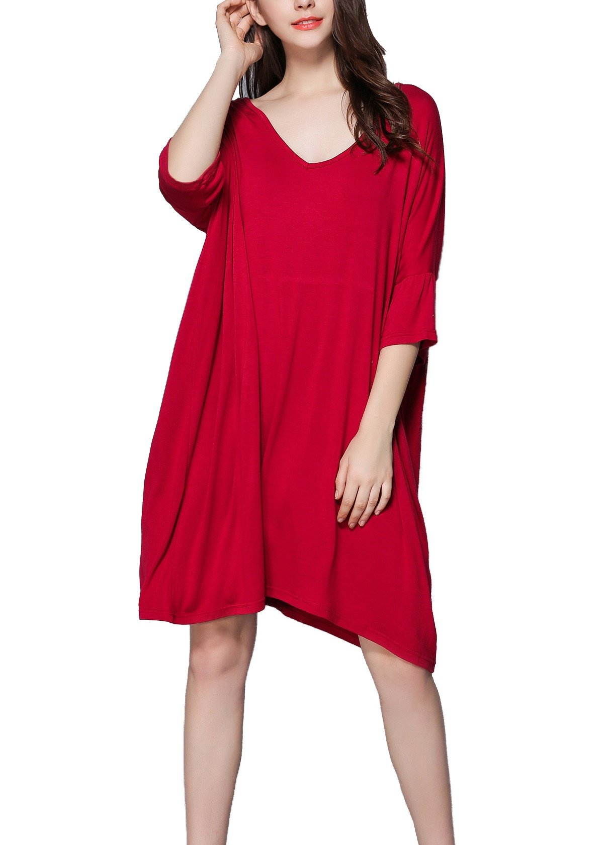 Lealac Women's Cotton V-Neck Short Sleeve T-Shirt Dress Plus Size Loose Sleepwear Gifts For Women 5325 Red M