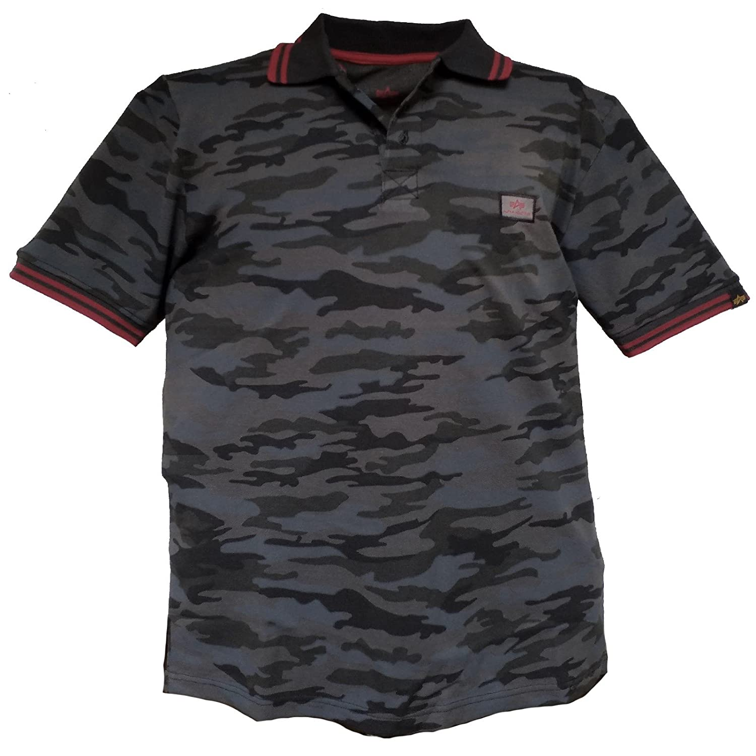 Alpha Industries - Polo - Manga Corta - para Hombre Black Camo XL ...