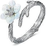 JEWME 925 Sterling Silver Women Sakura Cherry Blossoms Open Tail Ring Fine Jewelry