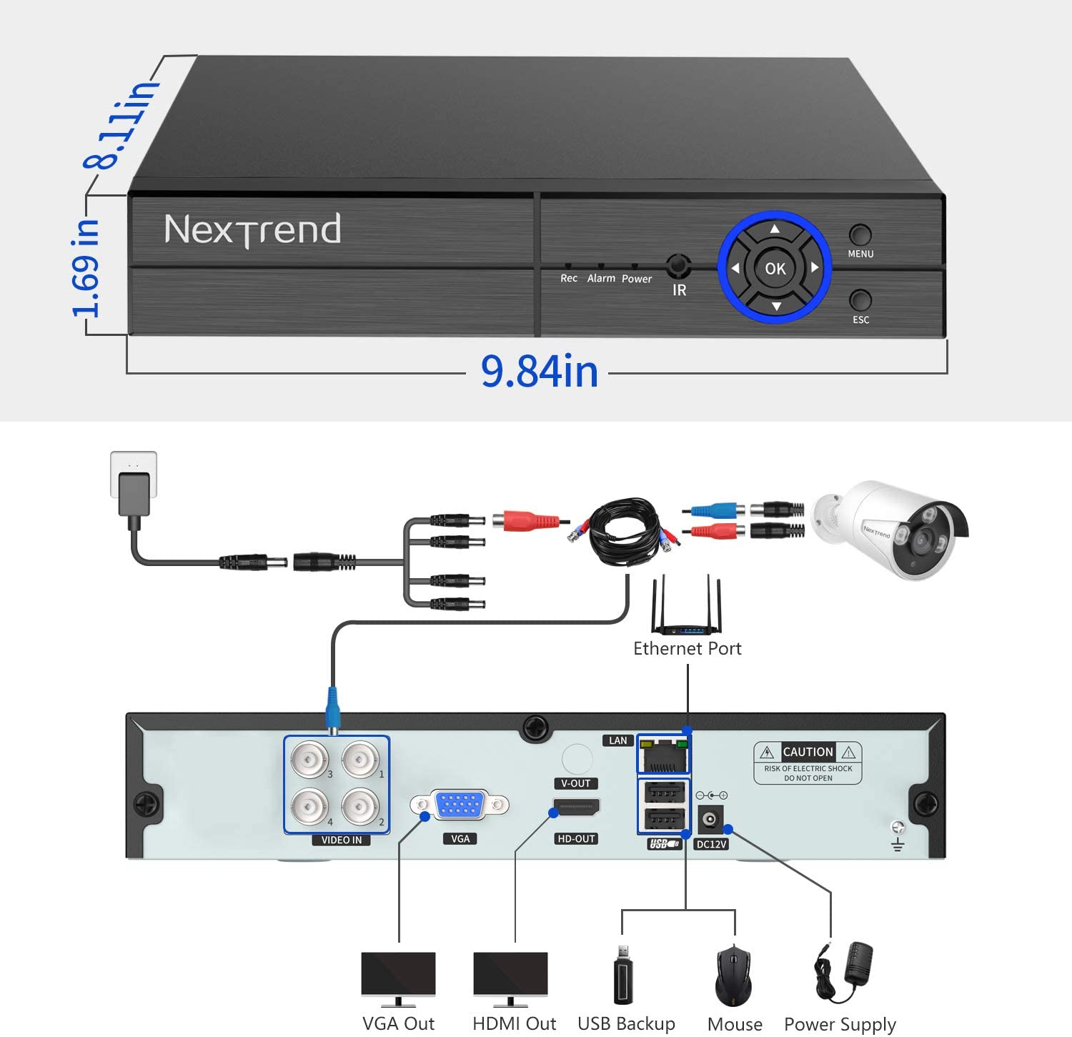 NexTrend CCTV Home Surveillance 【5MP】 Wired Security Camera System Motion Alert Remote View Free APP 4Channel DVR with 4pcs 5 Megapixel Super HD Camera 1TB HDD for 24//7 Recording