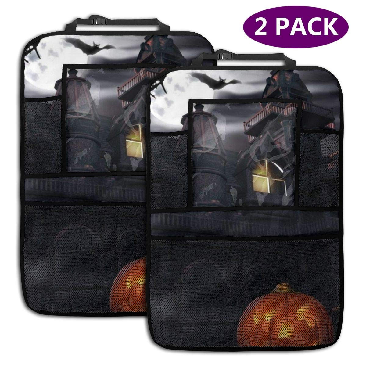 QF6FEICHAN Halloween Haunted House Car Seat Back Protectors with Storage Pockets Kick Mats Accessories for Kids and Toddlers by QF6FEICHAN