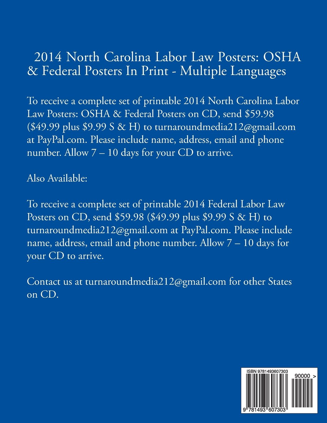 2014 North Carolina Labor Law Posters: OSHA & Federal Posters In Print - Multiple Languages (Multilingual Edition) by CreateSpace Independent Publishing Platform