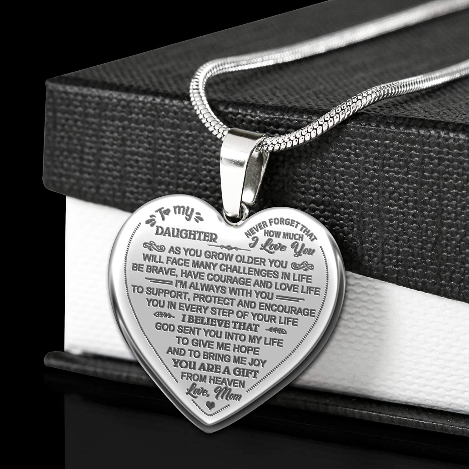 YF Great Mom to My Daughter Gift to My Daughter Silver Novelty Engraved Heart Necklace