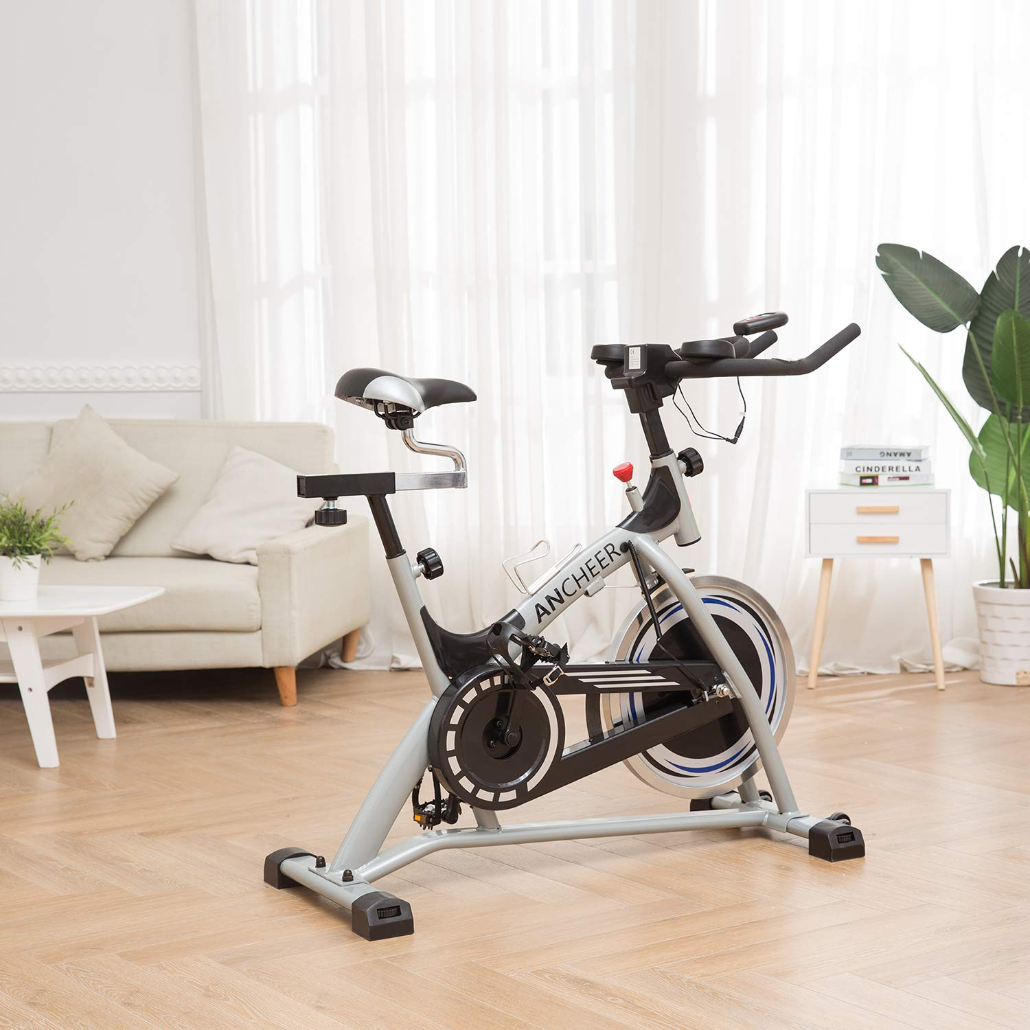 ANCHEER Stationary Bike, 40 LBS Flywheel Belt Drive Indoor Cycling Exercise Bike with Pulse, Elbow Tray (Model: ANCHEER-A5001) (Sliver) by ANCHEER (Image #2)