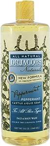 Dr. Jacobs Naturals Castile Soap Face & Body Wash, Peppermint, 946ml