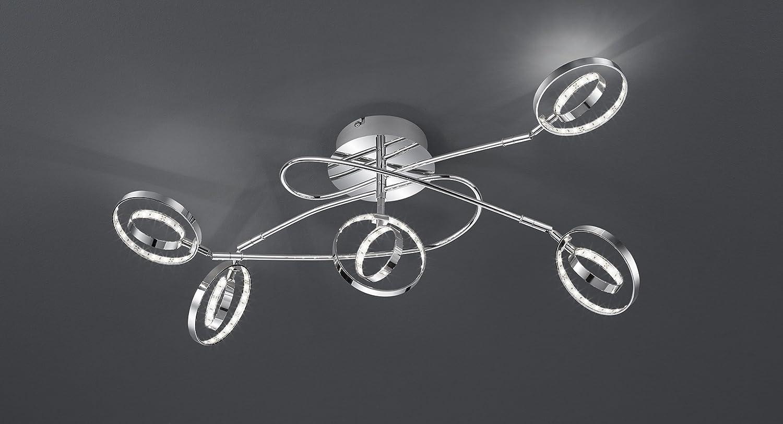 Reality Leuchten LED Deckenleuchte Prater in Chrom, 5x4,5 Watt LED ...