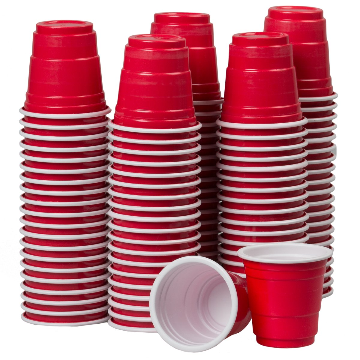 120ct Mini Red Cups 2oz Plastic Disposable Shot Glasses Party Shooter Beer Pong Jello by Global Décor