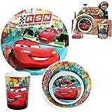 Disney Cars - Set Mélamine Vaisselle RSN (Assiette, Assiette Creuse, Verre)