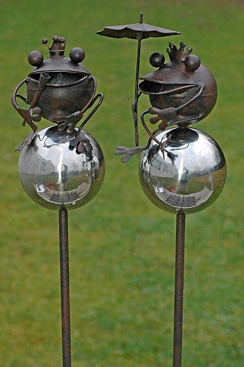 2 x Deko figuras, Jardín Rana de varilla Hierro, Figura de jardín ...