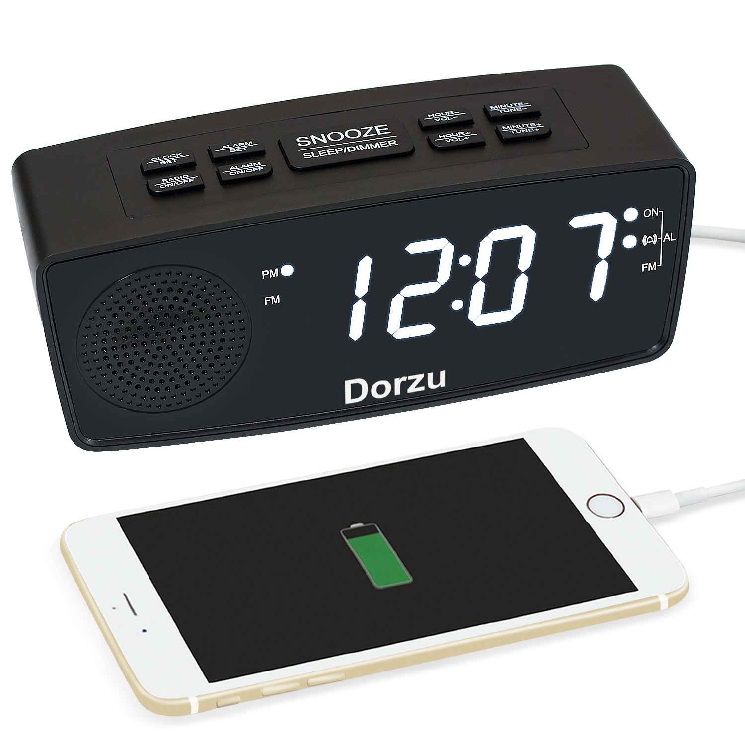 USB Alarm Clock Radio, Digital FM Radio Alarm Clock with USB Fast Charge for Bedrooms(Red,USB) Dorzu