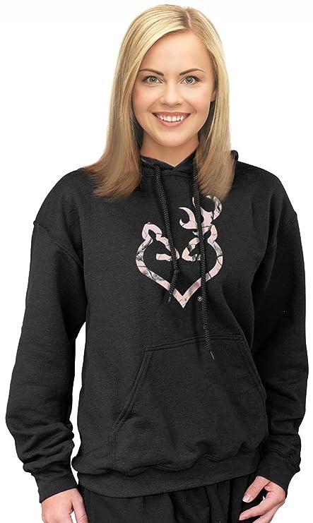 e8e07b9b1 Amazon.com : Mossy Oak Pink Camo Hoodie Women Plus Size Sweatshirt XXL 2XL  2X 3X 3XL 4X (Black Buckheart Hoodie / Realtree Pink Logo, 2X) : Sports &  ...