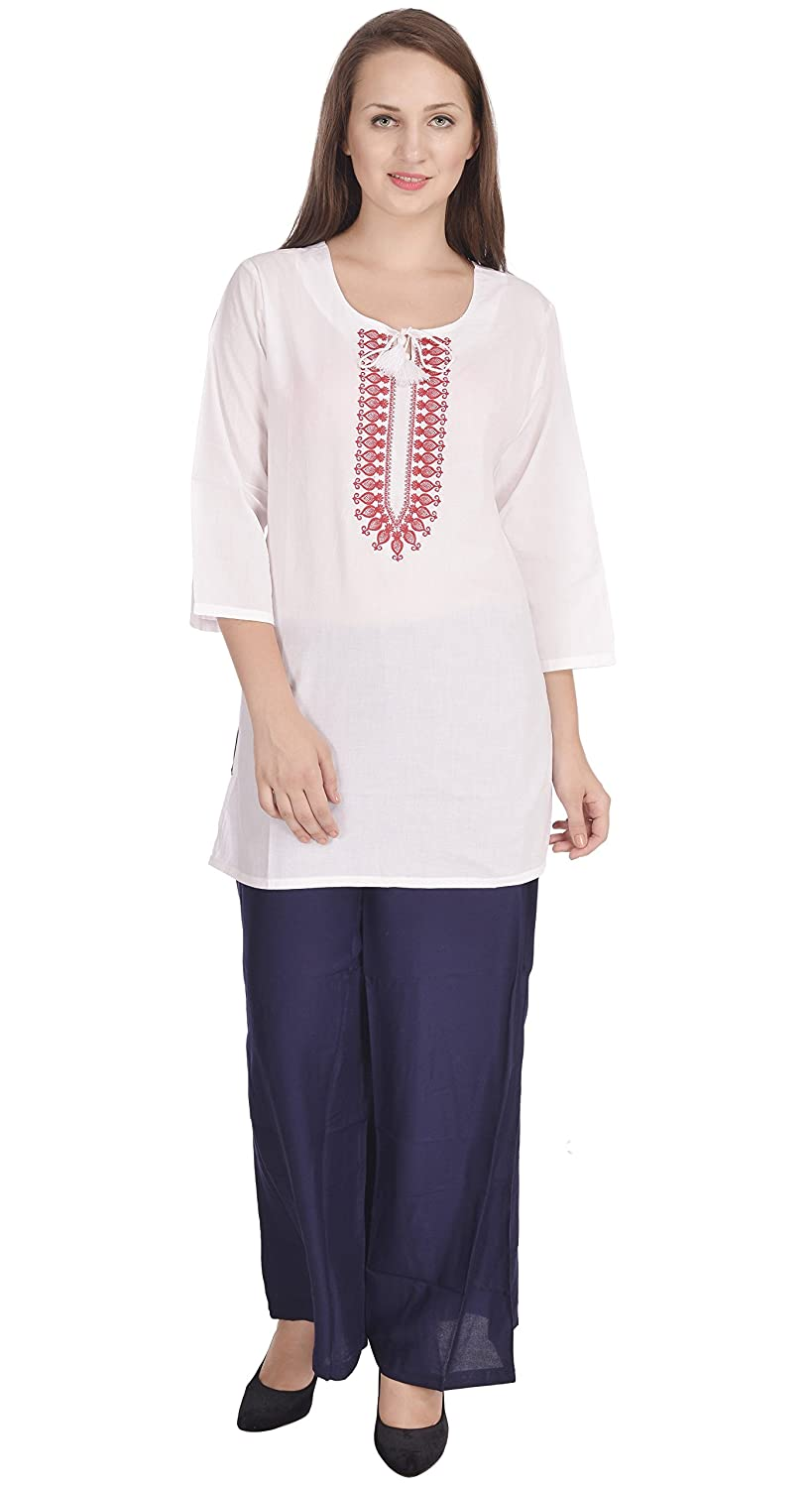 Womens Tunic Top Kurti Blouse 3/4 Sleeve Embroidered Indian Casual Clothing SKAVIJ M_WT-7