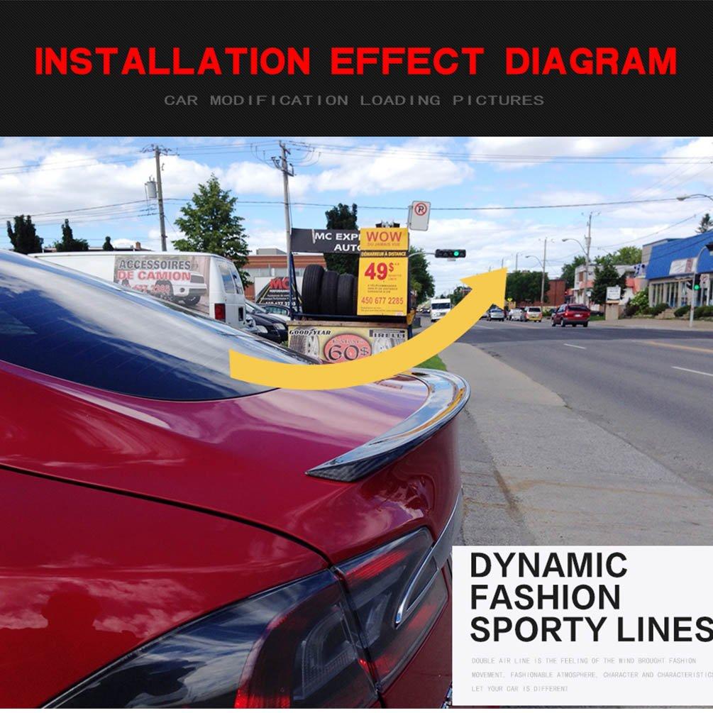 JC SPORTLINE fits Tesla Model S 60D 75D P85 P90D P100D 2012-2019 Carbon Fiber Rear Trunk Spoiler CF Deck Lip Wing Matt Black
