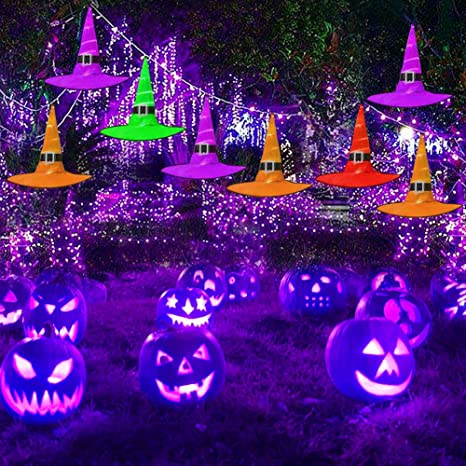 When Do 2020 Halloween Clearance Start Halloween Outdoor 8Pcs Hanging Lighted LED Glowing Witch Hat