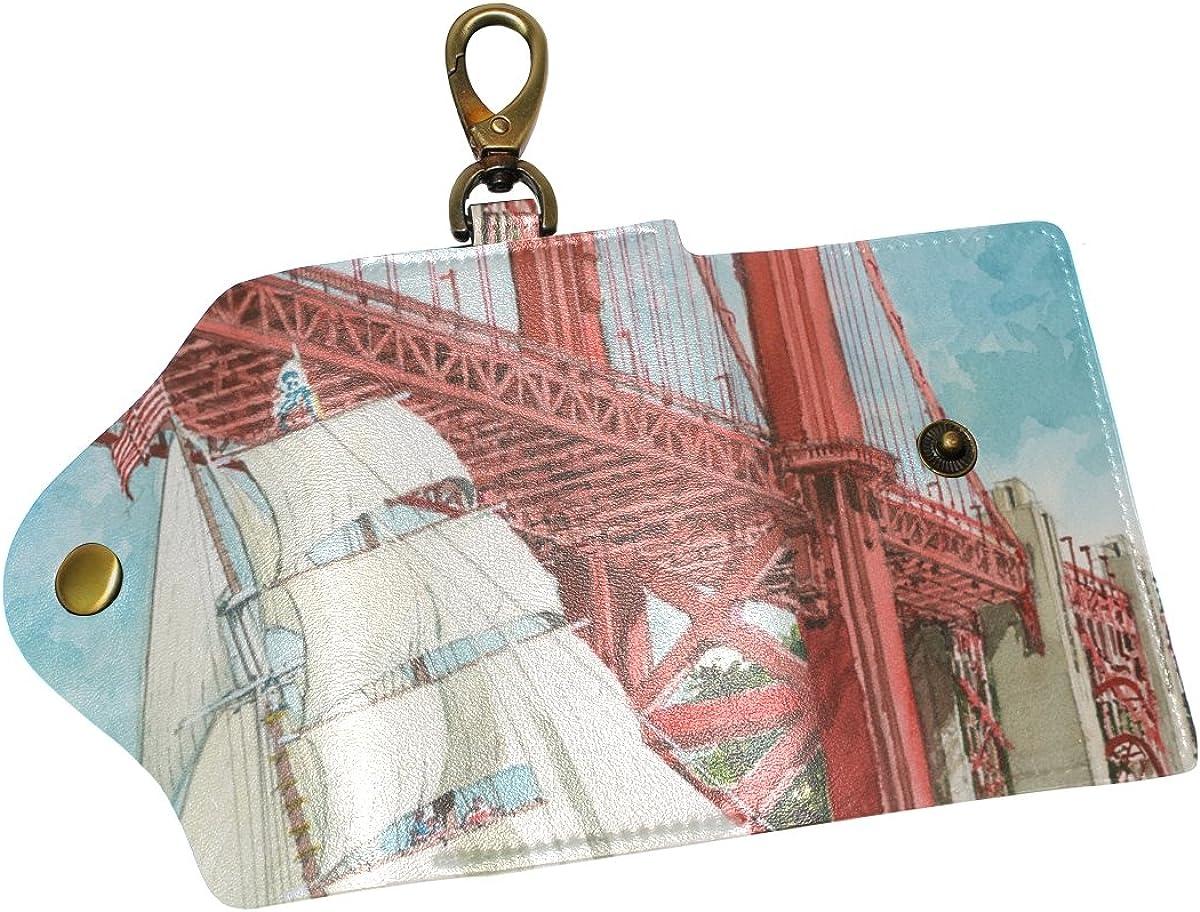 DEYYA Sailboat Print Art Leather Key Case Wallets Unisex Keychain Key Holder with 6 Hooks Snap Closure
