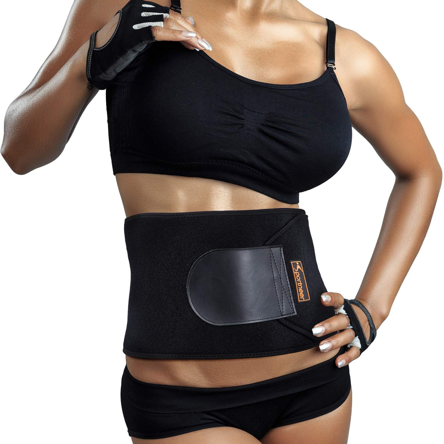 Sportneer Waist Trimmer, Adjustable Neoprene Waist Trainer Belt for Back Support, Waist Sweat Wrap, Sweat Enhancer, Body Slimmer, Stomach and Back Lumbar Support, Fits Up to 41 Inches, M-Size