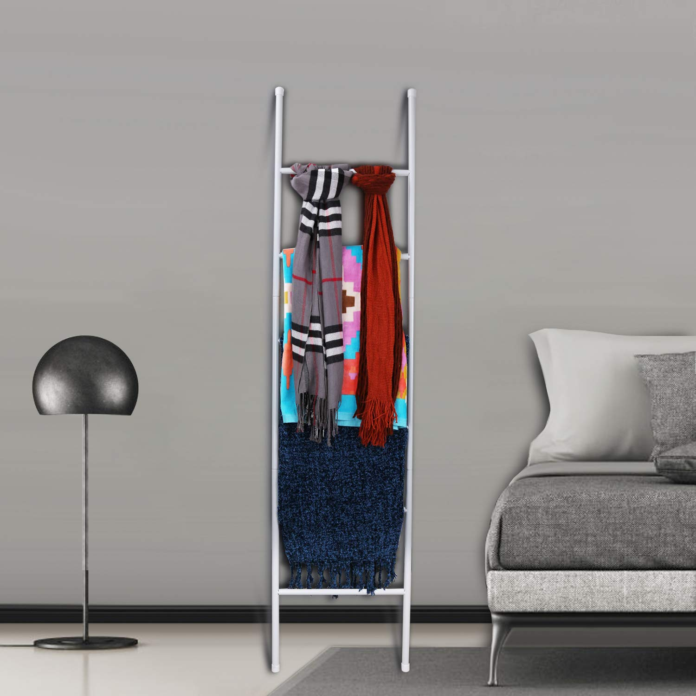 PENGECO Blanket Ladder Towel Shelves Beach Towel Rack Scarves Display Holder (White)