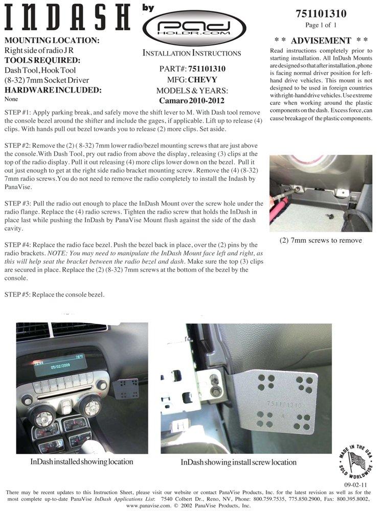 Padholder Edge Series Premium Tablet Dash Kit 2010-2012 Chevrolet Camaro for iPad /& Other Tablets Pad Holdr PHEC-GB.751101-310.717-06SF
