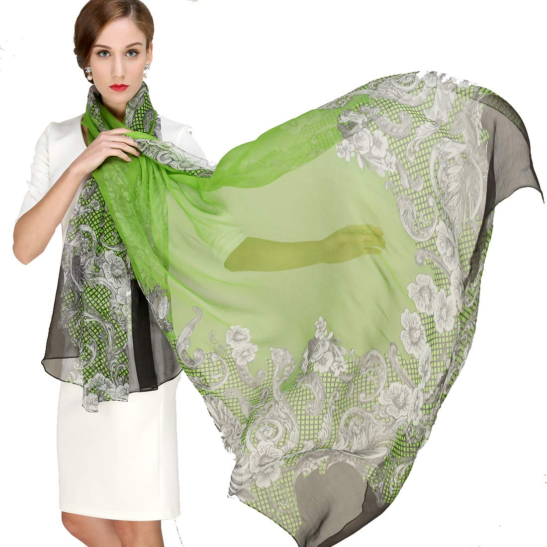 bluee DANA XU Pure Silk Large Size Pashmina Shawls and Wraps Scarfs for Women
