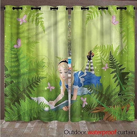 AndyTours - Cortinas transparentes para exteriores - Elegantes cortinas repelentes al agua con ojales para interior/exterior, cortinas de pérgola/persianas de gazebo para privacidad de patio, juego de 2, multi: Amazon.es: Jardín
