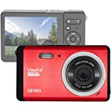 "Vmotal GDC80X2 Compact Digital Camera with 8x Digital Zoom / 12 MP/HD Compact Camera / 3"" TFT LCD Screen for Children/Beginners / Elderly (Red)"