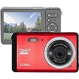 """GDC80X2 Cámara digital compacta con zoom digital 8x / 12 MP / Cámara compacta HD / Pantalla TFT LCD de 3"""" para niños / principiantes / ancianos (Rojo)"""