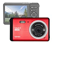 "Vmotal GDC80X2 Compact Digital Camera with 8x Digital Zoom/12 MP/HD Compact Camera/3"" TFT LCD Screen for Children/Beginners/Elderly (Red)"