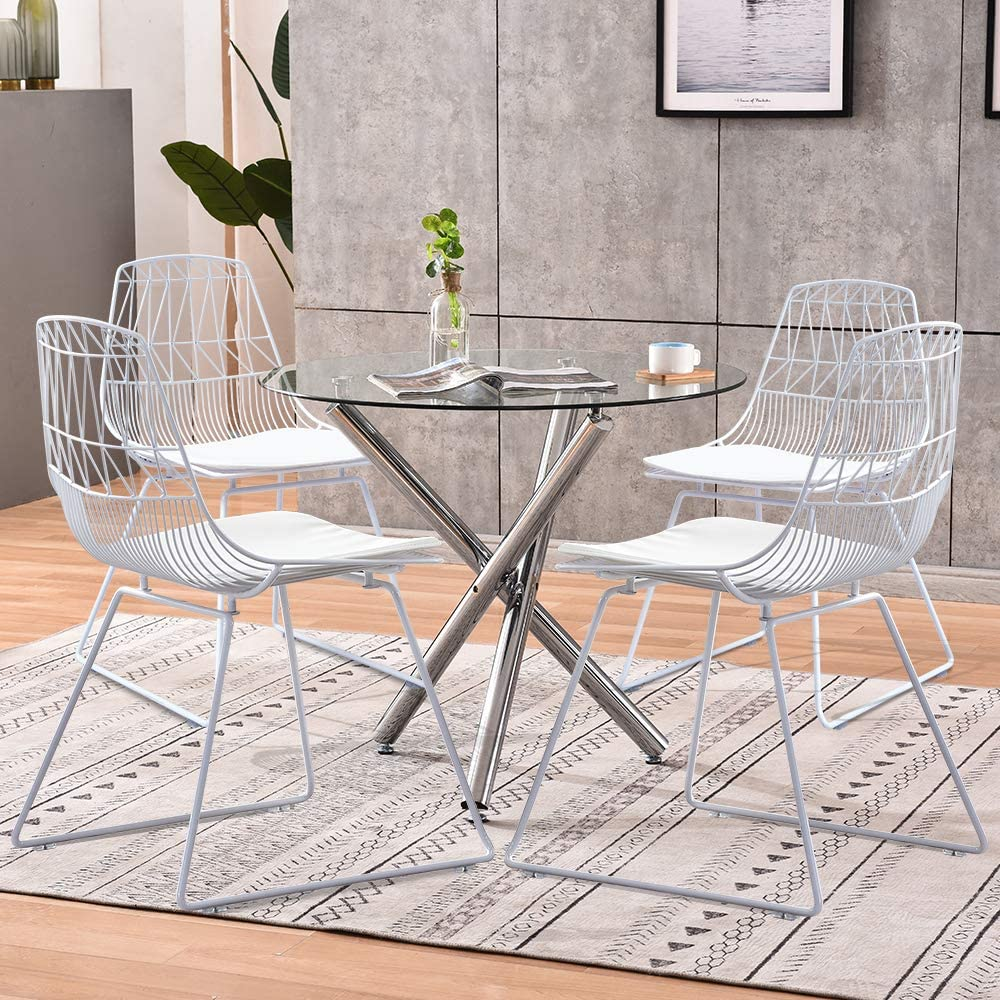 Huiseneu Garden Round Glass Dining Table and 9 White Metal Mesh Chairs Set  Occasional Chair Wire Style with Seat Pads for Outdoor Patio Coffee Shop