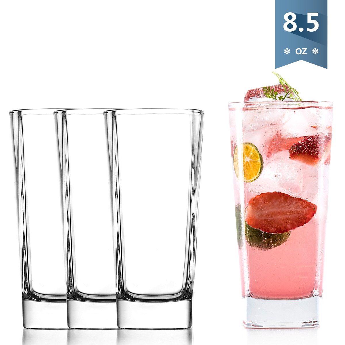 Sweese 4693 Square Drinking Glasses, Heavy Base Highball Glasses for Water, Juice, Whiskey and Cocktail, Set of 4, 8.5-Ounce