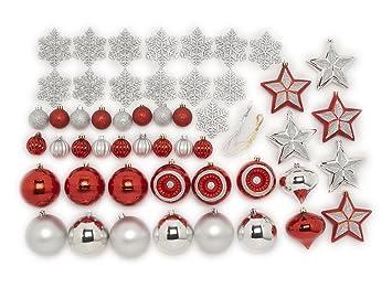 Christmas Ornament Set.Festive 50 Piece Assorted Christmas Ornament Set Red Silver