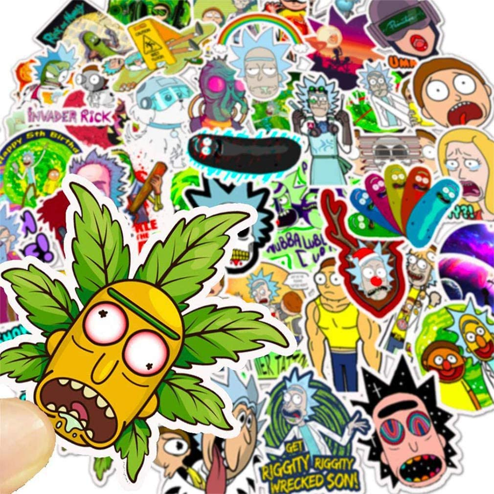 50 Waterproof Vinyl Decals Tinyuet Sticker Pack Laptop Bottle and Suitcase of Youngsters and Children-Morty Suitable on Mobile Phone