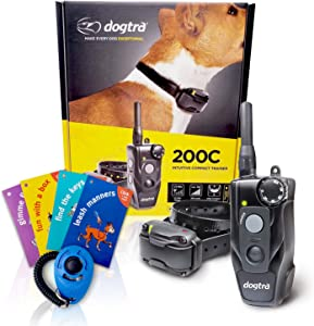 Dogtra 200C Remote Training Collar - 1/2 Mile Range, Rechargeable, Waterproof - Plus 1 iClick Training Card, Jestik Click Trainer - Value Bundle