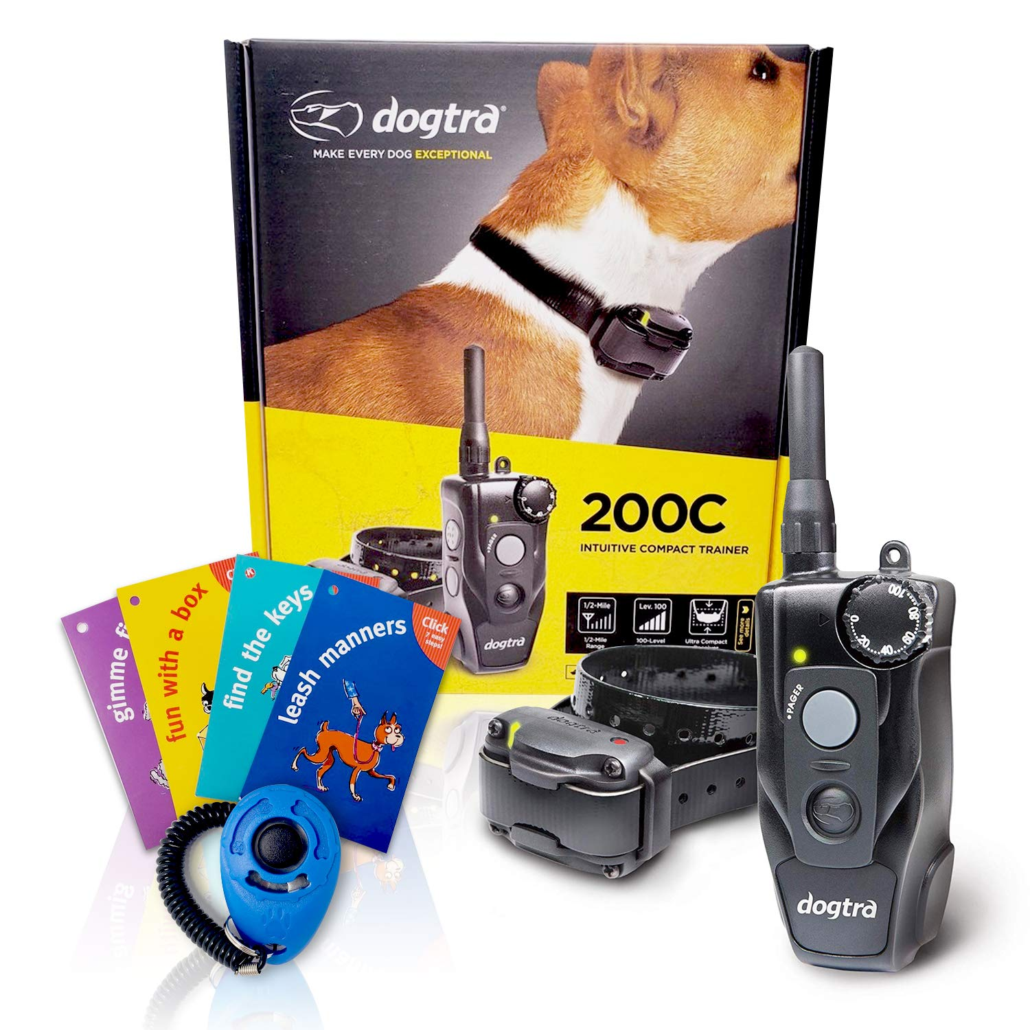 Dogtra 200C Remote Training Collar – 1 2 Mile Range, Rechargeable, Waterproof – Plus 1 iClick Training Card, Jestik Click Trainer – Value Bundle