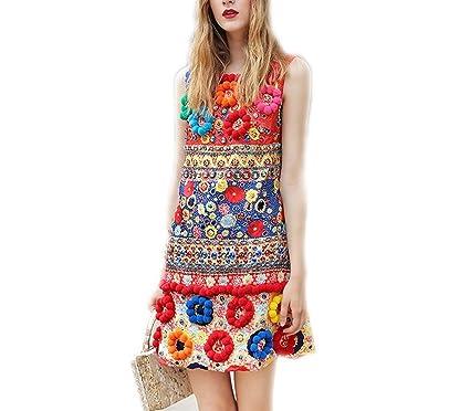 3565b2f3a744e BCVHGD Runway Designer Spring Tank Dress Women 3D Floral Diamonds ...