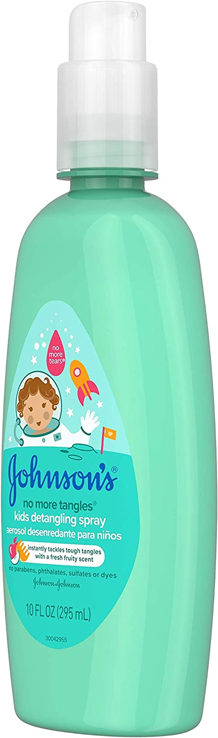Johnson's No More Tangles Toddler & Kids Detangling Spray, Hypoallergenic & Paraben-Free, No More Tears Formula for Wet or Dry Hair, Fresh Fruity Scent, 10 fl. oz