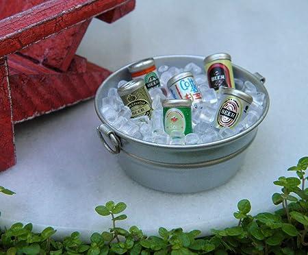 Miniature Beer Bottles Bucket Fairy Garden Accessory Ice Tub Dollhouse Supply