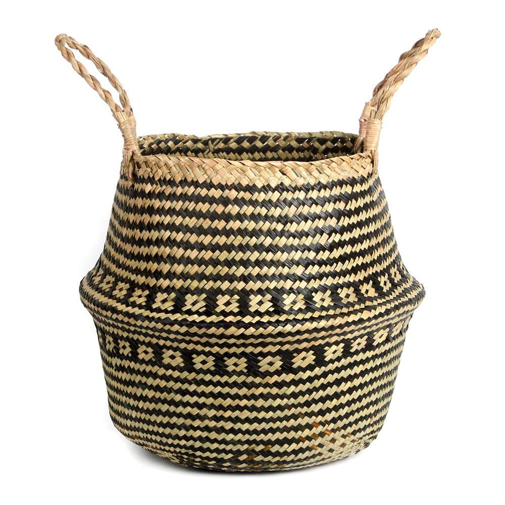 BlueMake Woven Seagrass Plant Basket with Handles,for Laundry, Picnic,Decorative Living,Laundry Room and Bedroom (Large,Cross Pattern)