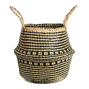 BlueMake Woven Seagrass Belly Basket for Storage Plant Pot Basket,Laundry, Picnic,Decorative Living ,Laundry Room& Bedroom (Medium,Cross Pattern)