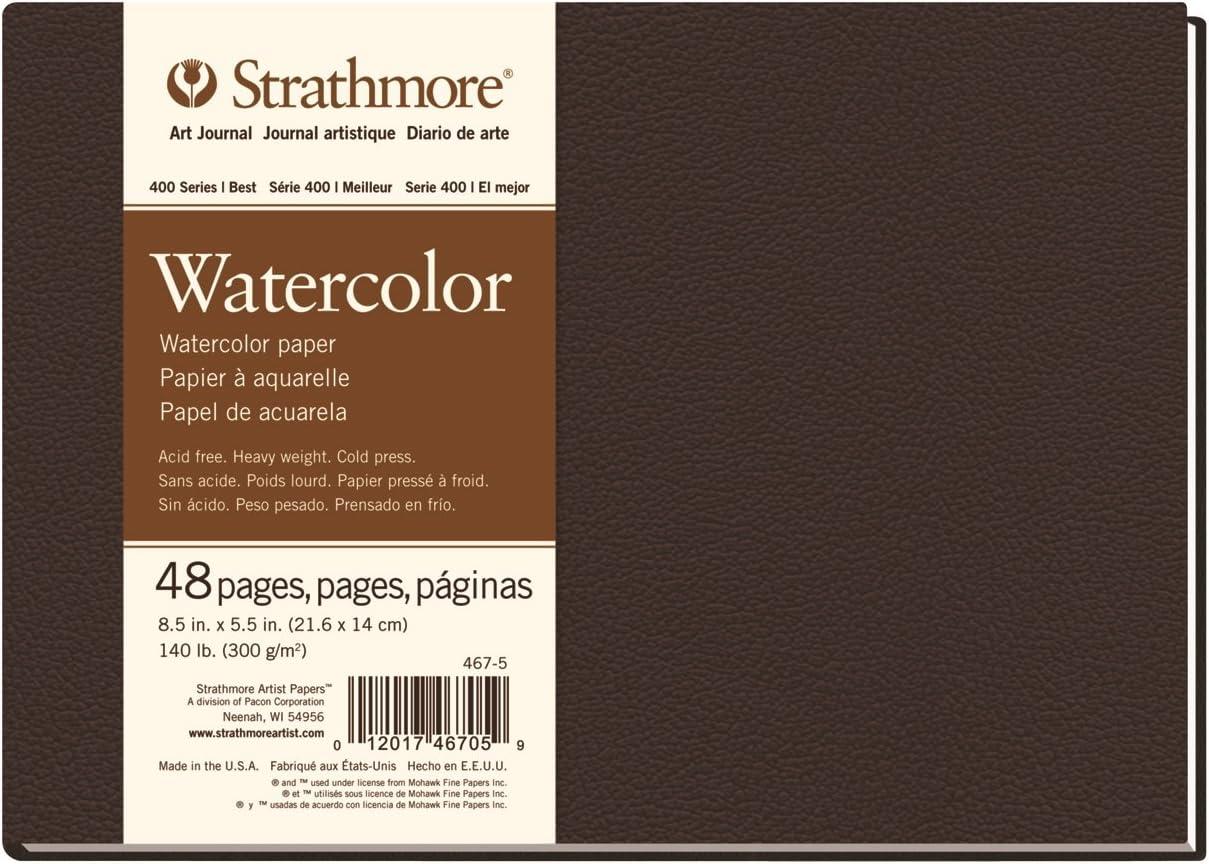 "Strathmore 467-5 STR-467-5 48 Sheet No 140 Watercolor Art Journal, 8.5 by 5.5"", 5.5""x8.5"", 24"