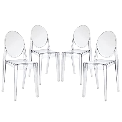 Amazon Com Modway Casper Modern Acrylic Dining Side Chairs In Clear