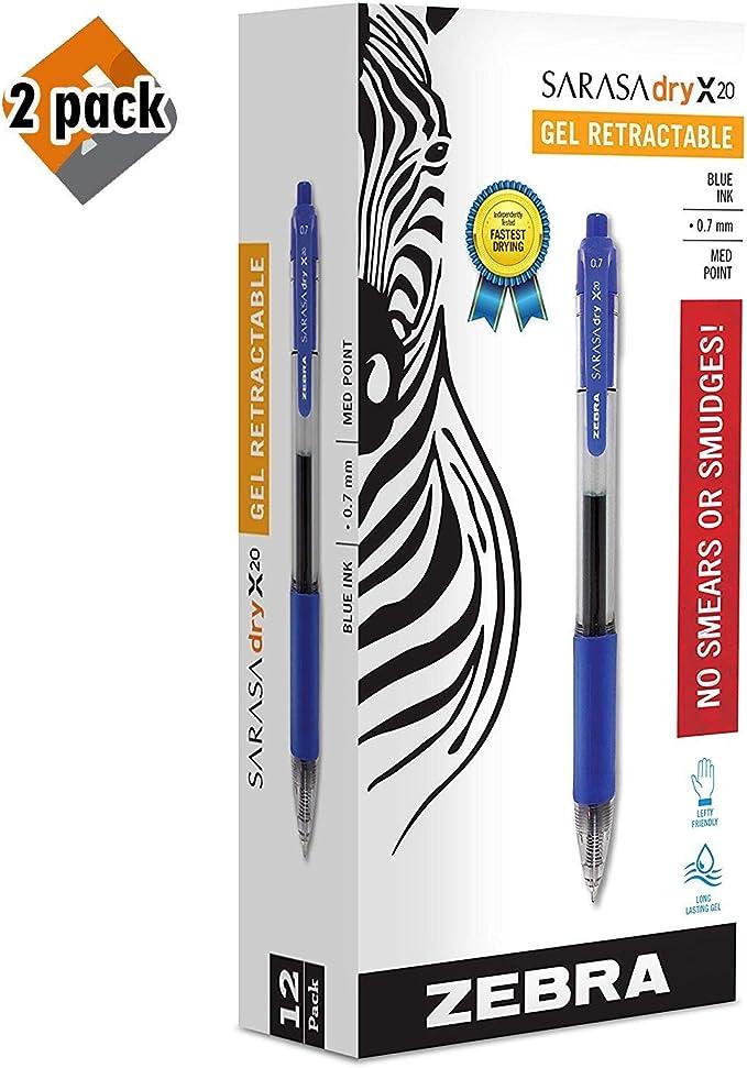 "/""Zebra Sarasa Retractable Gel Ink Pens Pack of 12 Medium Point 0.7mm Blue Ink"