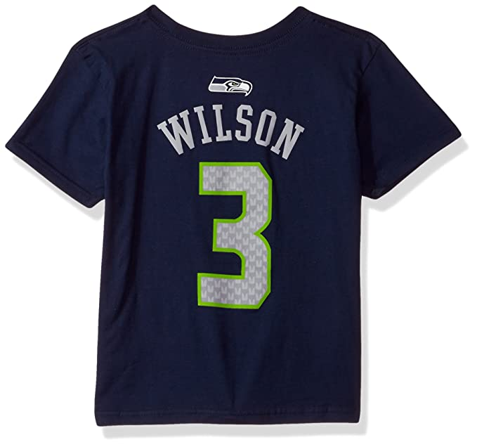 35eb17c4 NFL Boys 4-7 Russell Wilson Seattle Seahawks Mainliner Player Name & Number  Short Sleeve Tee, Medium/(5-6), Dark Navy