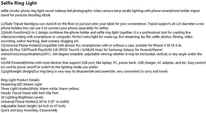 Damuxin Clip Fotografie Beleuchtung Telefon Ringlicht Stativ Ständer Foto Led Selfie Bluetooth Remote Ring Licht Lampe Tiktok Youtube Live Marineblau Sport Freizeit
