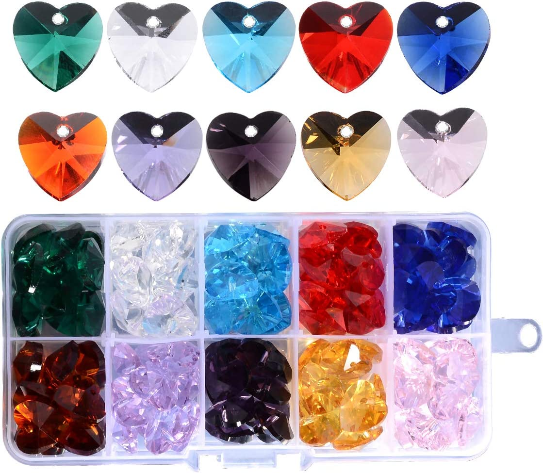 14mm Heart Crystal Glass Faceted Spacer Charms Bead Earring Bracelet Finding