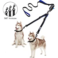 YOUTHINK Double Dog Leash, No Tangle Dog Walking Leash 2 Dogs up to 180lbs, Comfortable Adjustable Dual Padded Handles, Bonus Pet Waste Bag