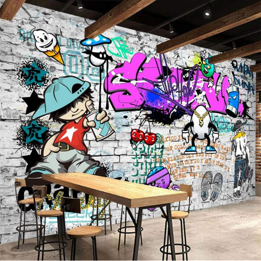 Yisj Papel Pintado Papel tapiz mural arte callejero graffiti hip-hop decoraci/ón de pared de ladrillo papel pintado decorativo,400x280cm WxH