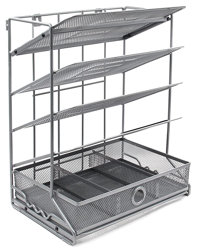 Amazon.com : EasyPAG 4 Tier Assembly Desktop Wall Filer Holder + Desk Drawer Accessories Organizer, Silver : Office Products