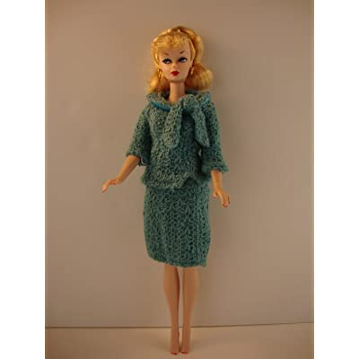 Blue Knit 2 Piece Business Suit Made to Fit Barbie Doll: Toys & Games